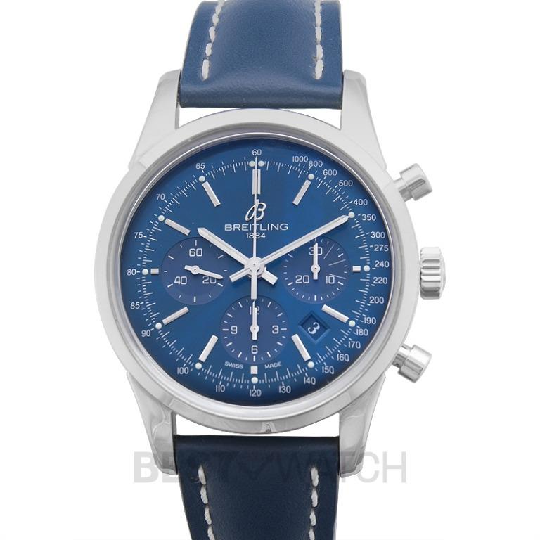 [NEW] Breitling Transocean Chronograph Limited Edition Blue Steel/Leather 43mm AB015112/C860