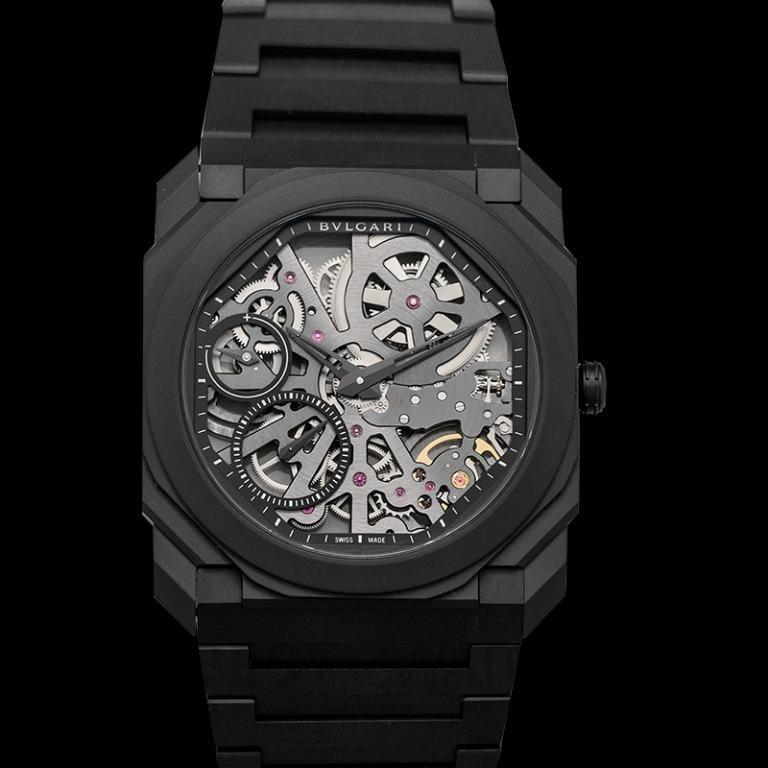 [NEW] Bvlgari Octo Finissimo Extra Thin Manual-winding Skeleton Dial Black Ceramic Men's Watch 103126