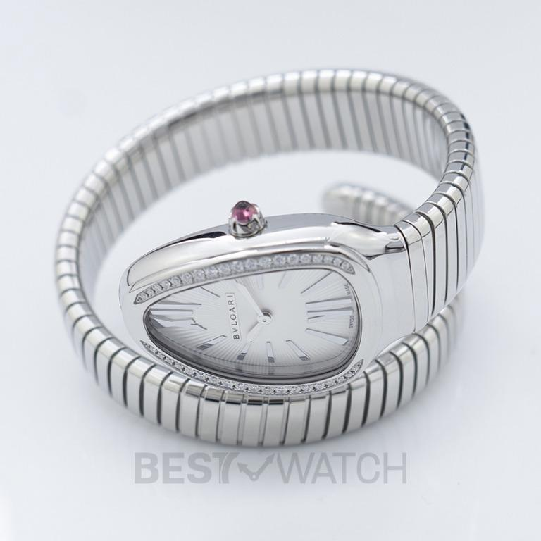 [NEW] Bvlgari Serpenti Quartz Diamond White Dial Diamond Bezel Rubellite Crown Ladies Watch 101816
