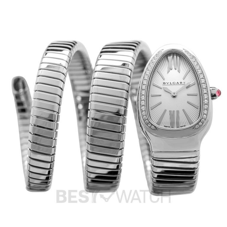 [NEW] Bvlgari Serpenti Tubogas Quartz White Dial Diamond Bezel Rubellite Crown Ladies Watch 101910