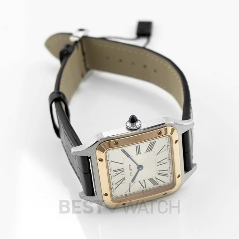 [NEW] Cartier Santos de Cartier 31.4mm Quartz Silver Dial Stainless Steel & Rose Gold Men's Watch W2SA0011