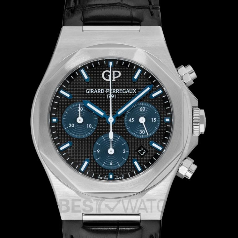 [NEW] Girard-Perregaux Girard-Perregaux Laureato 42 Chronograph Stainless Steel  Black Alligator Watch 81020-11-631-BB6A