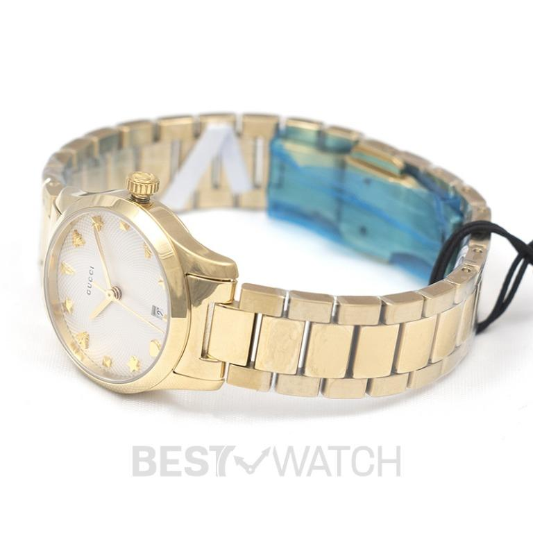 [NEW] Gucci G-Timeless Quartz Silver Dial Ladies With Charms Hour Markers Ladies Watch YA126576