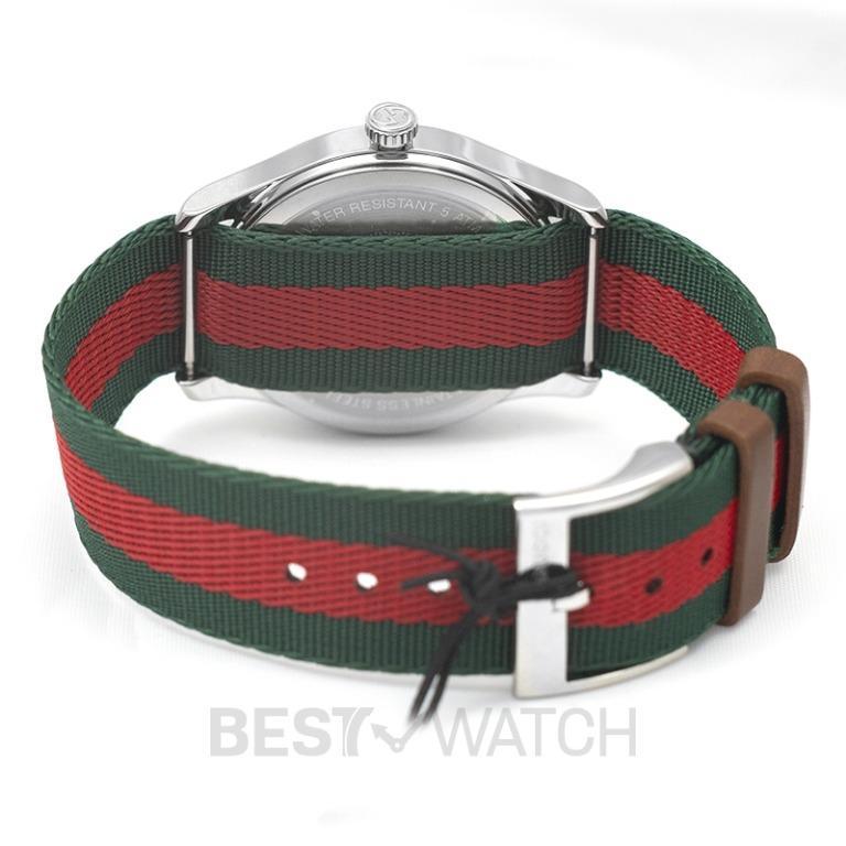 [NEW] Gucci Le Marché Des Merveilles Quartz Green And Red Nylon Dial With Bee Motif Men's Watch YA1264060