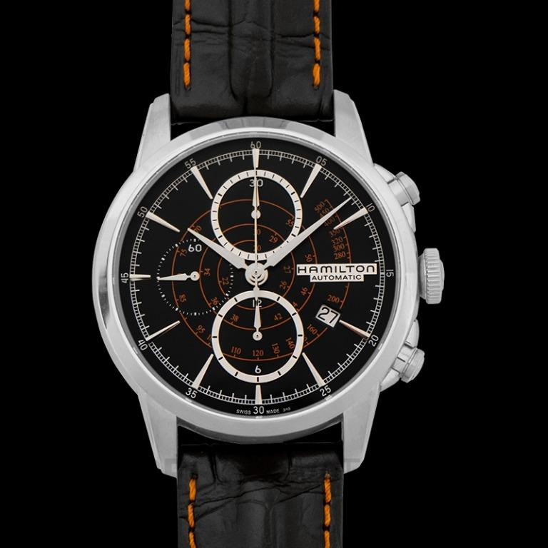 [NEW] Hamilton American Classic Railroad Auto Chrono Automatic Black Dial Stainless steel Men's Watch H40656731