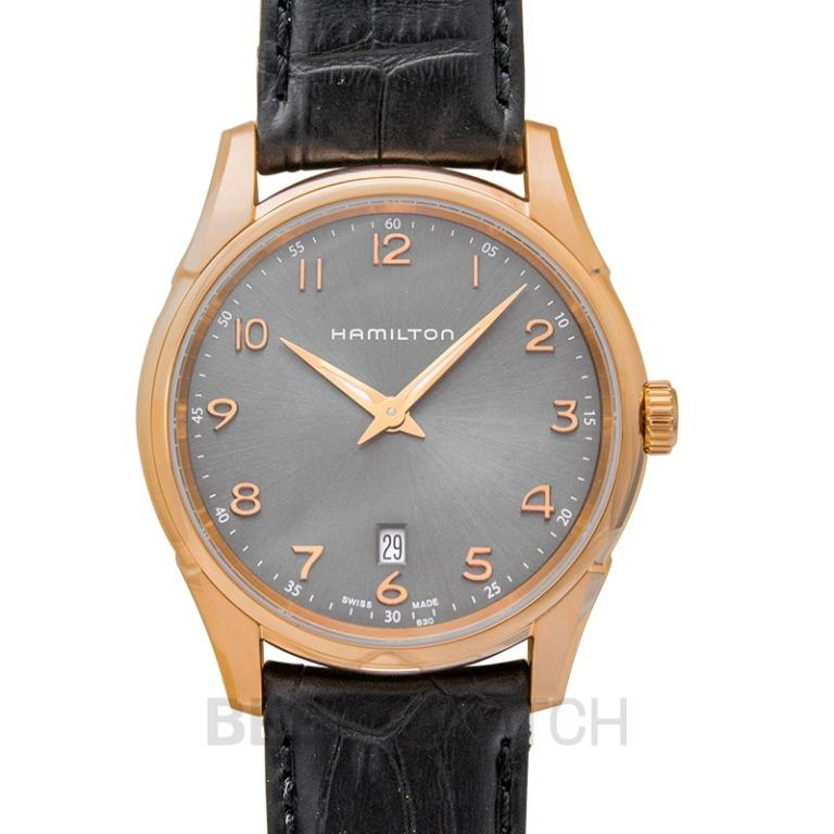 [NEW] Hamilton Jazzmaster Quartz Grey Dial Rose Gold- tone Stainless Steel Men's Watch H38541783