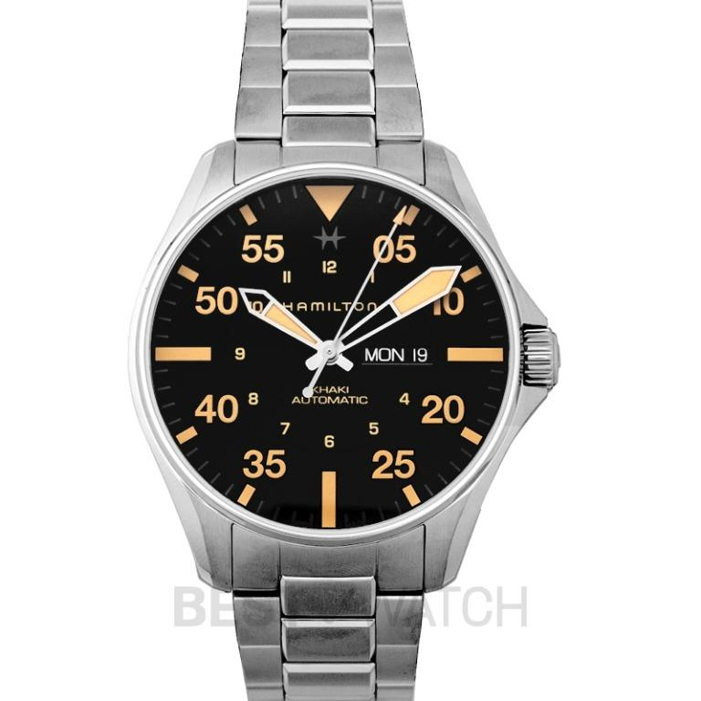 [NEW] Hamilton Khaki Aviation Pilot Day Date Automatic Black Dial Stainless Steel Men's Watch H64725131