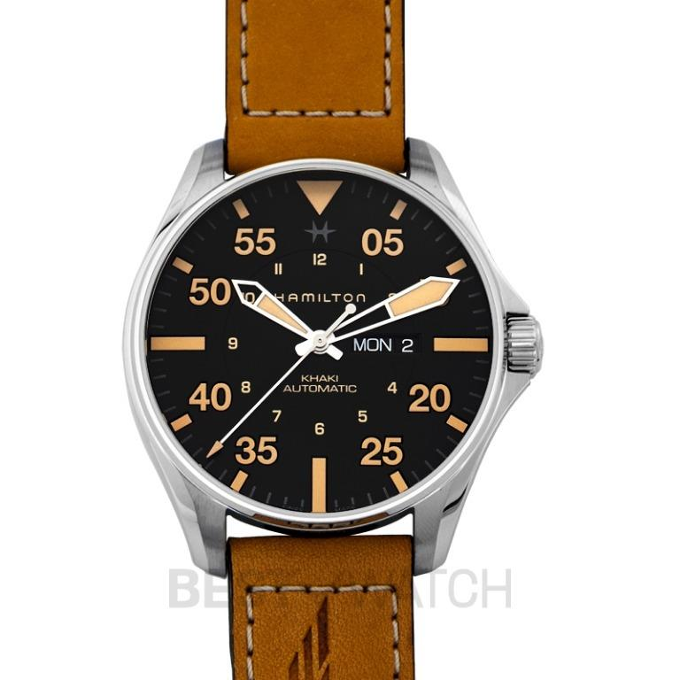 [NEW] Hamilton Khaki Aviation Pilot Day Date Automatic Black Dial Stainless Steel Men's Watch H64725531