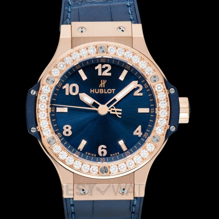[NEW] Hublot Big Bang Gold Blue Diamonds Quartz Blue Dial 18K Gold Ladies Watch 361.PX.7180.LR.1204