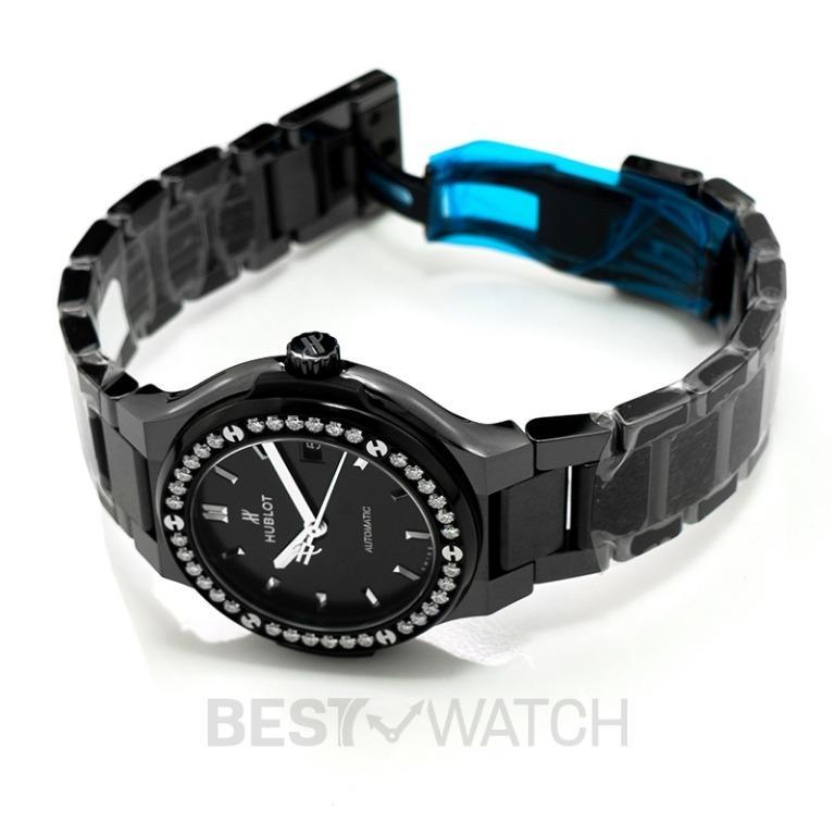 [NEW] Hublot Classic Fusion Black Magic Bracelet Diamonds Automatic Black Dial Ceramic Ladies Watch 568.CM.1470.CM.1204