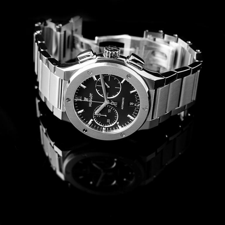 [NEW] Hublot Classic Fusion Chronograph Titanium Bracelet Automatic Black Dial Men's Watch 520.NX.1170.NX