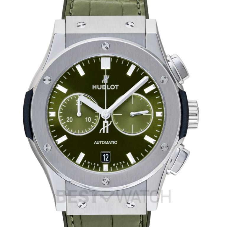 [NEW] Hublot Classic Fusion Chronograph Titanium Green Automatic Green Dial Men's Watch 541.NX.8970.LR