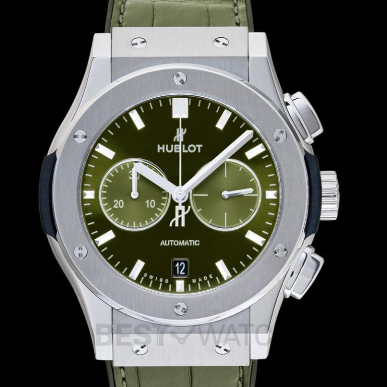 [NEW] Hublot Classic Fusion Chronograph Titanium Green Automatic Green Dial Men's Watch 541.NX.8970.LR