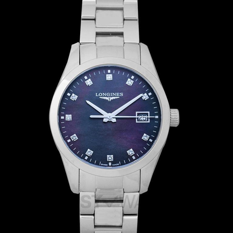 [NEW] Longines Conquest Classic Quartz Black Mother of Pearl Dial Diamond Ladies Watch L23864886