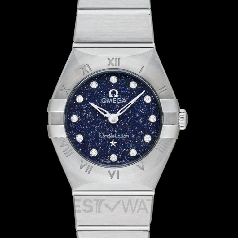 [NEW] Omega Constellation Manhattan 25 mm Quartz Blue Dial White Gold Diamond Ladies Watch 131.10.25.60.53.001