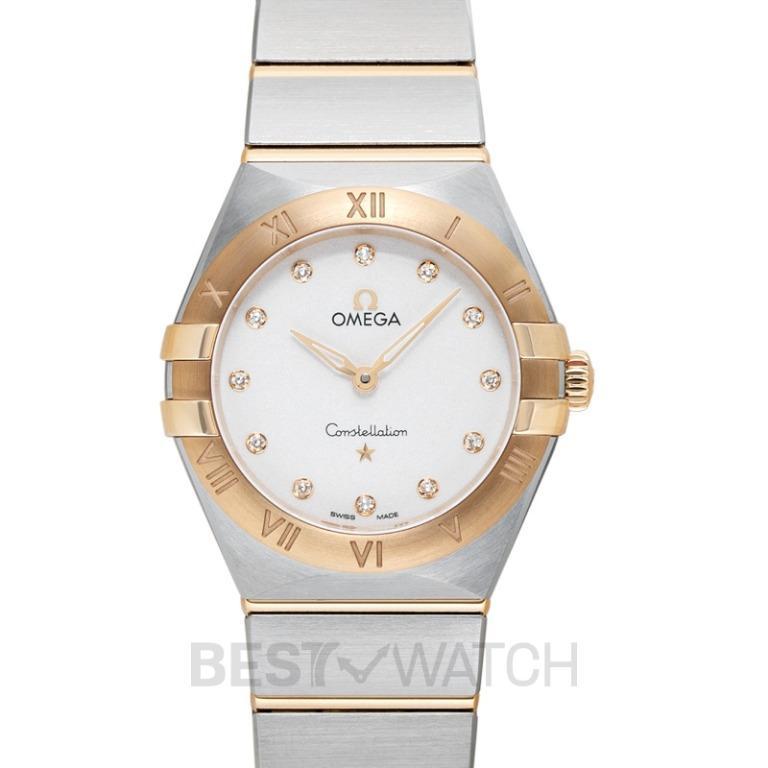 [NEW] Omega Constellation Manhattan Quartz 28mm Quartz Silver Dial Yellow Gold Diamond Ladies Watch 131.20.28.60.52.002