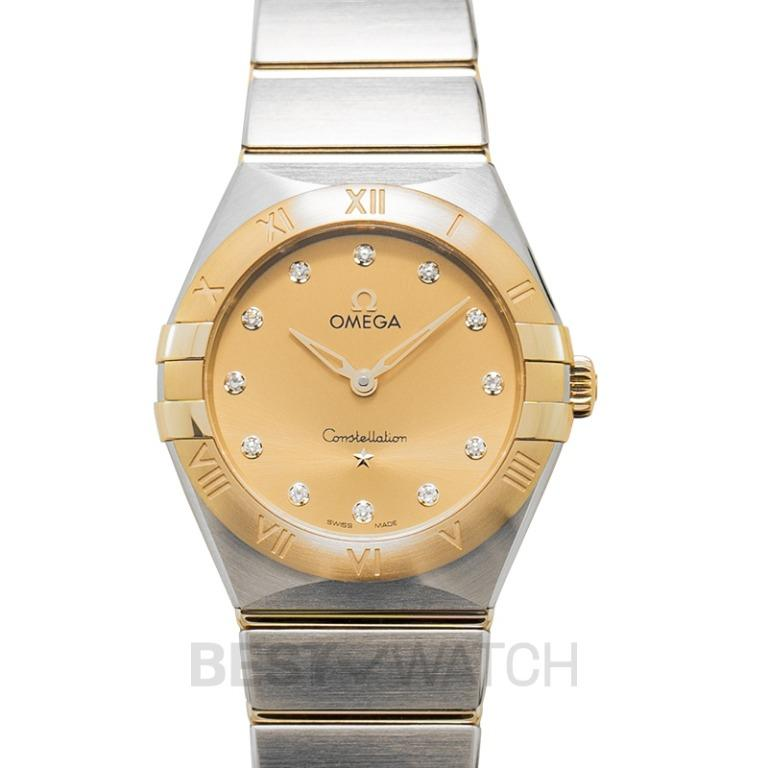 [NEW] Omega Constellation Manhattan Quartz 28 mm Quartz Yellow Dial Steel Yellow Gold Diamond Ladies Watch 131.20.28.60.58.001