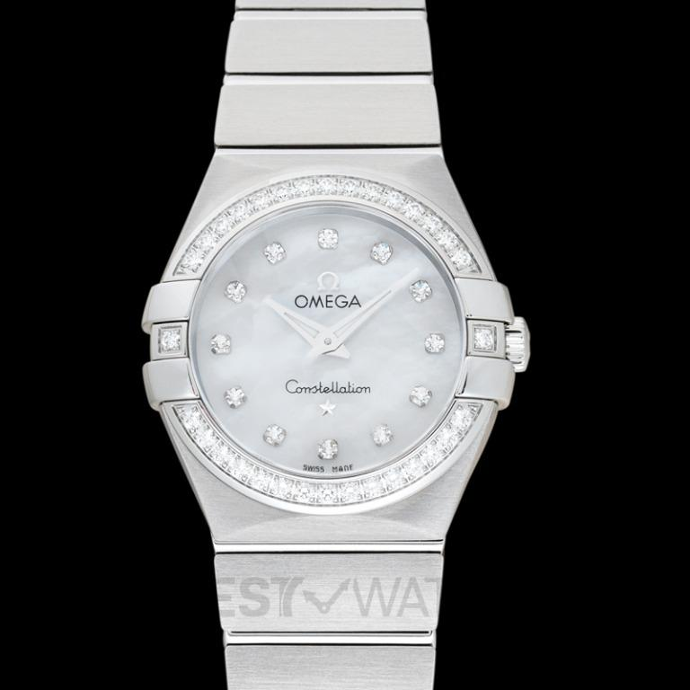 [NEW] Omega Constellation Quartz 27 mm Griffes Quartz White Mother Of Pearl Dial Diamonds Ladies Watch 123.15.27.60.55.001