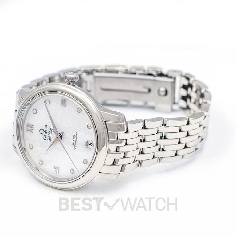 [NEW] Omega De Ville Prestige Butterfly Co‑Axial 32.7mm Automatic White Mother Of Pearl Dial Diamonds Ladies Watch 424.10.33.20.55.001