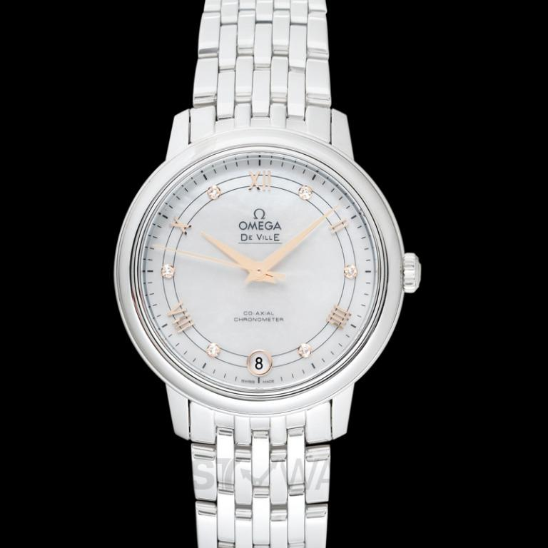 [NEW] Omega De Ville Prestige Co‑Axial 32.7 mm Automatic White Mother Of Pearl Dial Diamonds Ladies Watch 424.10.33.20.55.002
