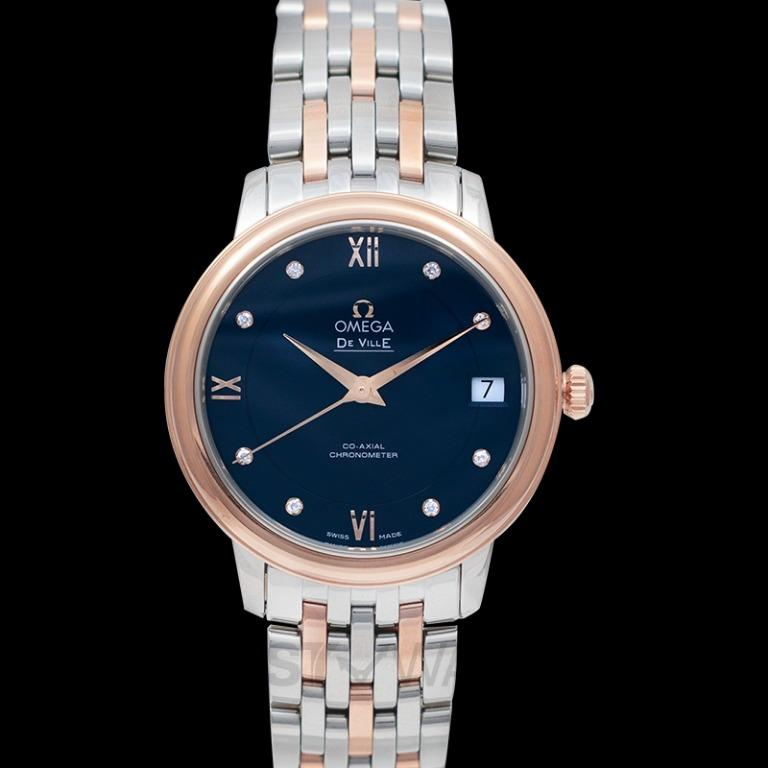 [NEW] Omega De Ville Prestige Co‑Axial 32.7mm Blue Dial Diamonds Red Gold Ladies Watch 424.20.33.20.53.001