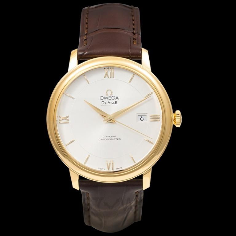 [NEW] Omega De Ville Prestige Co-Axial 39.5mm Automatic Silver Dial Yellow Gold Men's Watch 424.53.40.20.02.002