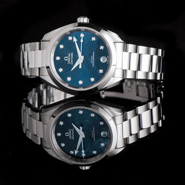 [NEW] Omega Seamaster Aqua Terra 150M Co-Axial Master Chronometer 34 mm Automatic Blue Dial Diamonds Ladies Watch 220.10.34.20.53.001