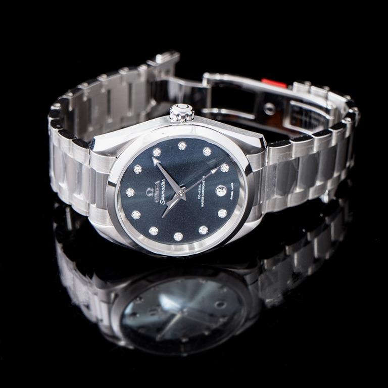 [NEW] Omega Seamaster Aqua Terra 150M Co-Axial Master Chronometer Ladies 38mm Automatic Blue Dial Diamonds Steel Ladies Watch 220.10.38.20.53.001