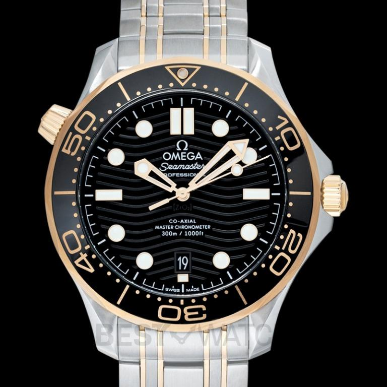 [NEW] Omega Seamaster Diver 300 M Co‑Axial Master Chronometer 42 mm Automatic Black Dial Yellow Gold Men's Watch 210.20.42.20.01.002