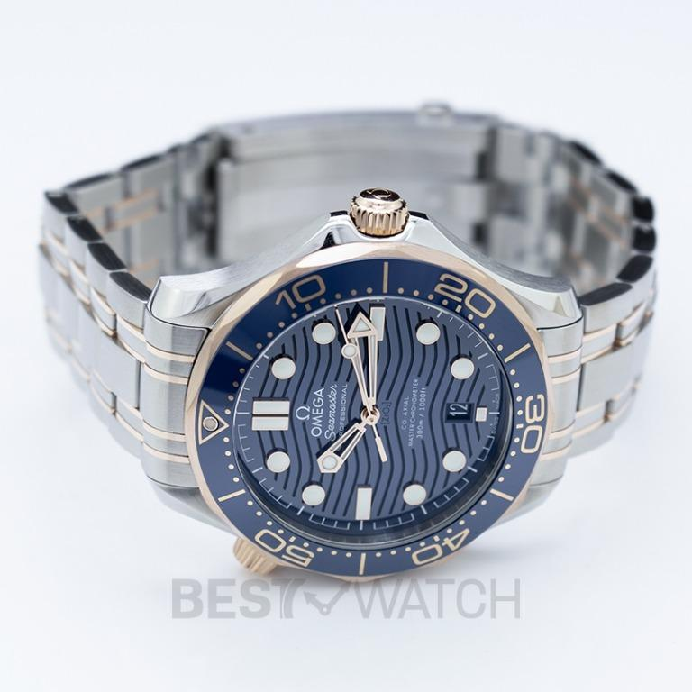 [NEW] Omega Seamaster Diver 300 M Co‑Axial Master Chronometer 42mm Automatic Blue Dial Gold Men's Watch 210.20.42.20.03.002