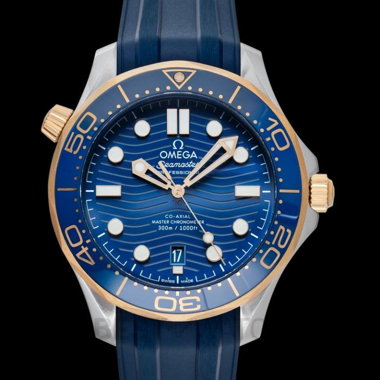 [NEW] Omega Seamaster Diver 300 M Co‑Axial Master Chronometer 42mm Automatic Blue Dial Yellow Gold Men's Watch 210.22.42.20.03.001