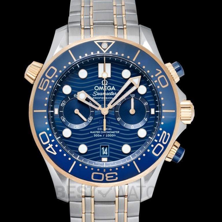 [NEW] Omega Seamaster Diver 300 M Co‑Axial Master Chronometer Chronograph 44mm Automatic Blue Dial Yellow Gold Men's Watch 210.20.44.51.03.001