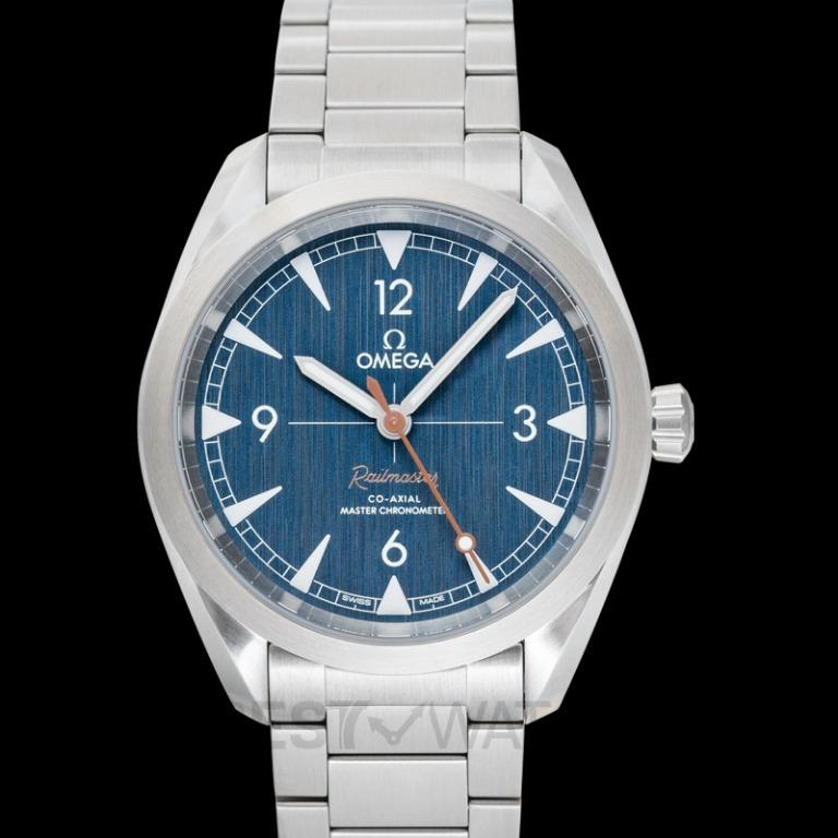 [NEW] Omega Seamaster Railmaster Co-Axial Master Chronometer 40mm Automatic Blue Dial Steel Men's Watch 220.10.40.20.03.001