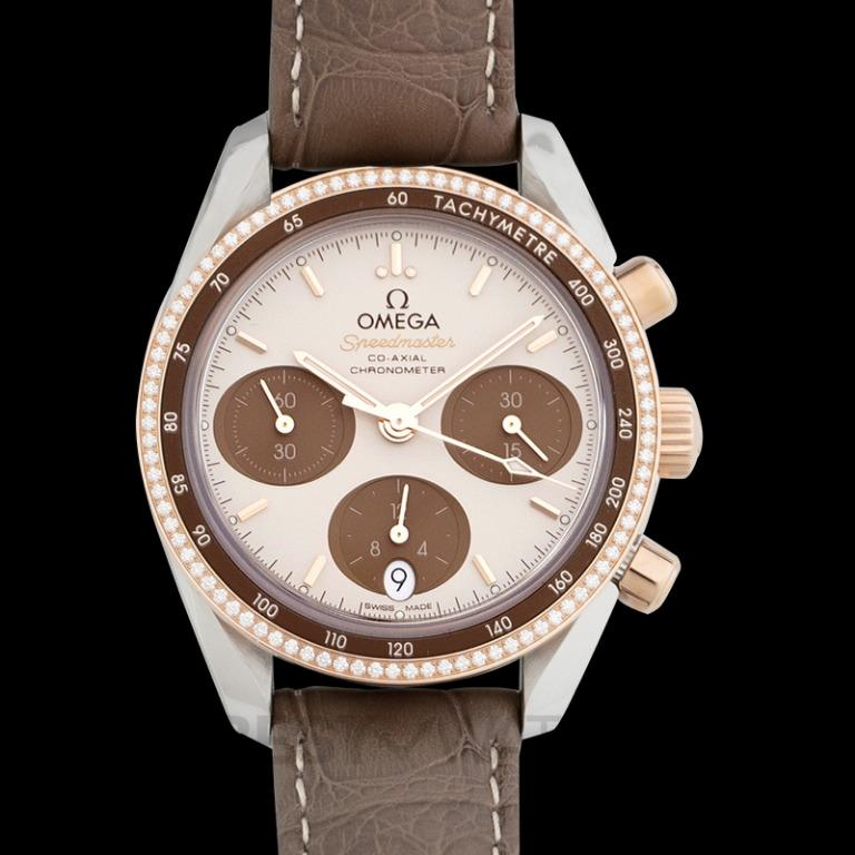 [NEW] Omega Speedmaster 38 mm Co-Axial Chronograph 38 mm Automatic Brown Dial Diamonds Gold Men's Watch 324.28.38.50.02.002