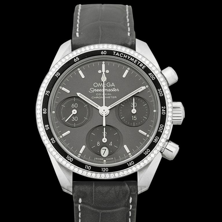 [NEW] Omega Speedmaster Co-Axial Chronograph 38 mm Automatic Grey Dial Steel Ladies Watch 324.38.38.50.06.001