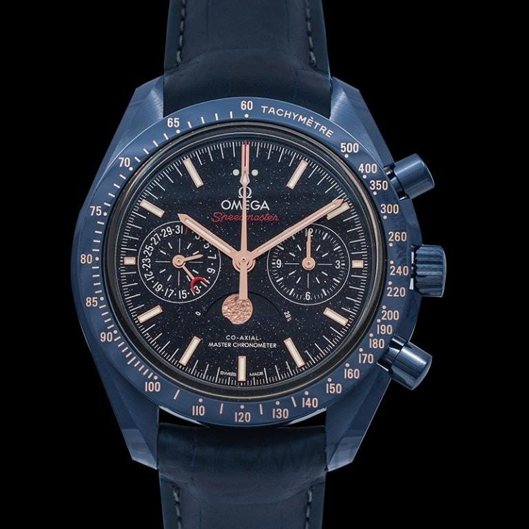 [NEW] Omega Speedmaster Moonwatch Blue Side of the Moon Co-Axial Master Chronometer Moonphase Chronograph 44.25 mm Automatic Blue Dial Ceramic Men's Watch 304.93.44.52.03.002