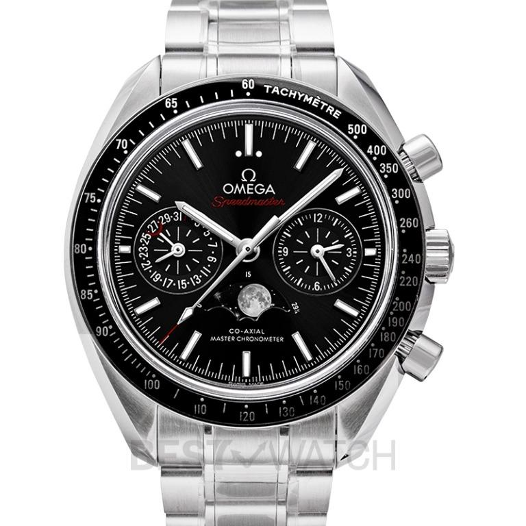 [NEW] Omega Speedmaster Moonwatch Co-Axial Master Chronometer Moonphase Chronograph 44.25mm Automatic Black Dial Steel Men's Watch 304.30.44.52.01.001