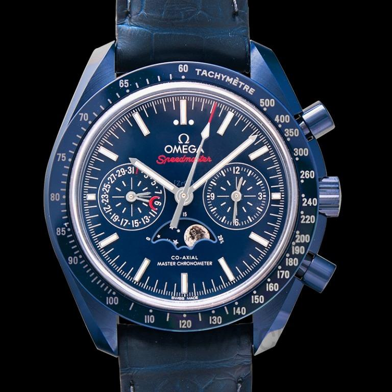 [NEW] Omega Speedmaster Moonwatch Co-Axial Master Chronometer Moonphase Chronograph 44.25 mm Automatic Blue Dial Ceramic Men's Watch 304.93.44.52.03.001
