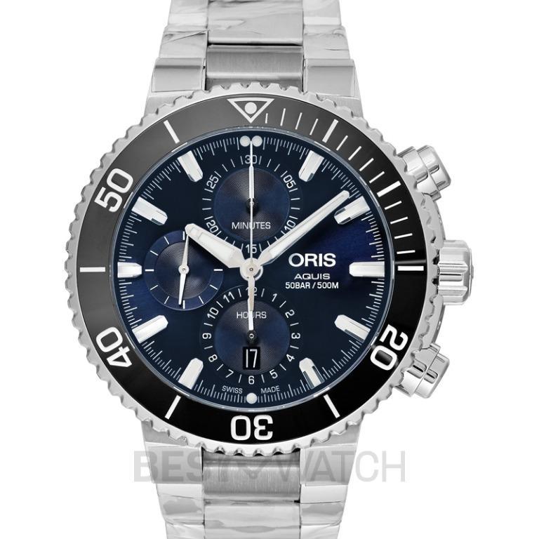 [NEW] Oris Aquis Chronograph Automatic Blue Dial Bracelet Men's Watch 01 774 7743 4155- 07 8 24 05