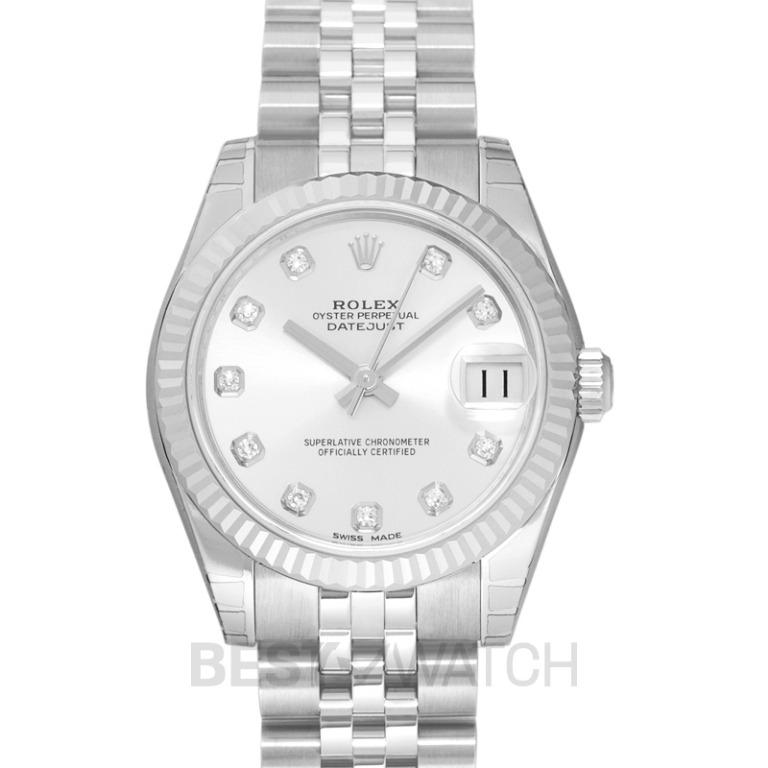 [NEW] Rolex Datejust 31 Steel And 18ct White Gold Automatic Silver Diamond Dial Ladies Watch 178274-0018G