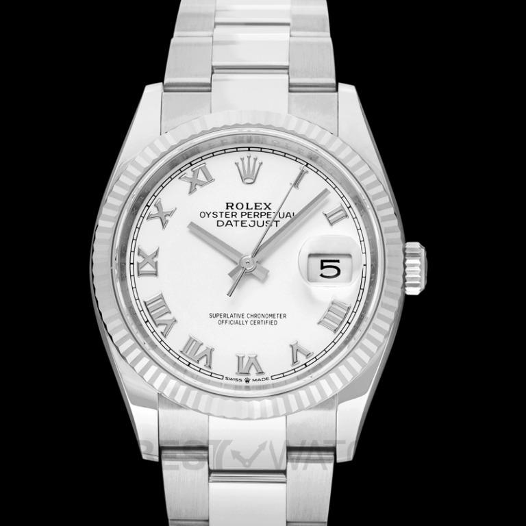 [NEW] Rolex Datejust 36 Automatic White Dial Oystersteel and 18 ct White Gold Ladies Watch 126234 White Roman Oyster