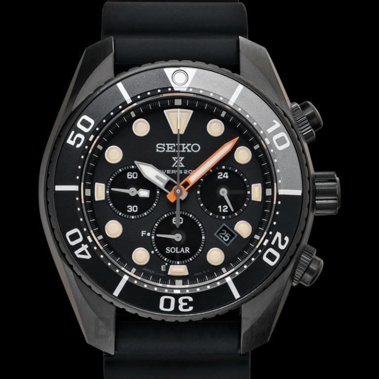 [NEW] Seiko Prospex 200M Diver Solar Chronograph Limited Edition Solar Quartz Black Dial Men's Watch SBDL065