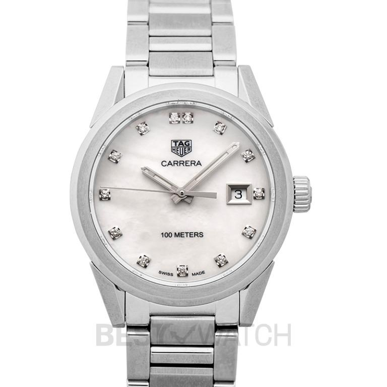 [NEW] TAG Heuer Carrera Ladies Quartz Mother Of Pearl Dial with Diamonds Ladies Watch WBG1312.BA0758