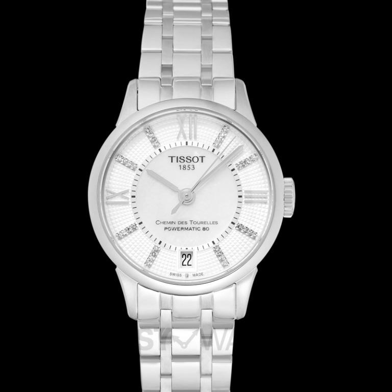 [NEW] Tissot T-Classic Chemin Des Tourelles Powermatic 80 Lady Automatic Mother Of Pearl Dial Diamond Indexes Ladies Watch T099.207.11.116.00
