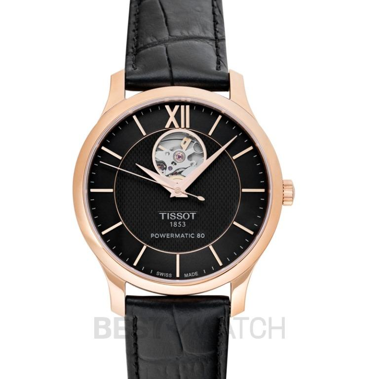 [NEW] Tissot T Classic Tradition Powermatic 80 Open Heart Automatic Black Dial Men's Watch T063.907.36.068.00