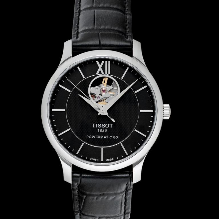 [NEW] Tissot T-Classic Tradition Powermatic 80 Open Heart Automatic Black Dial Men's Watch T063.907.16.058.00