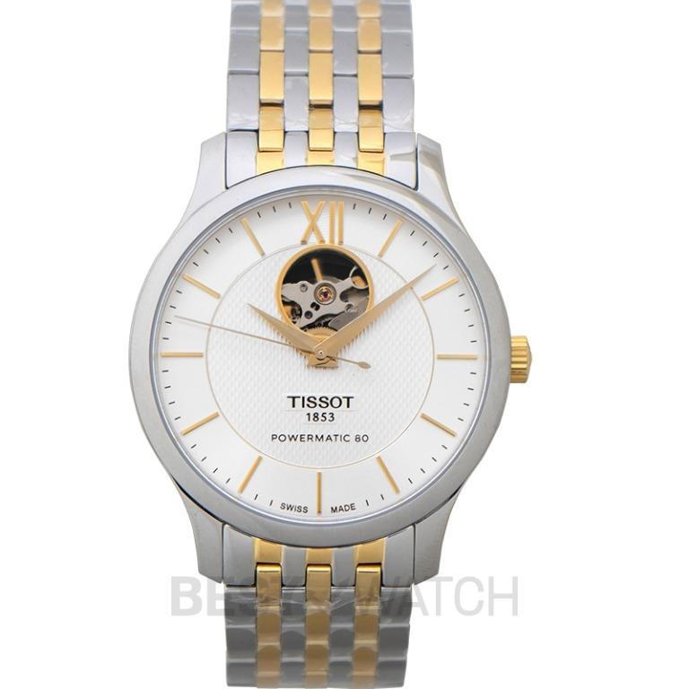 [NEW] Tissot T-Classic Tradition Powermatic 80 Open Heart Automatic Silver Dial Men's Watch T063.907.22.038.00