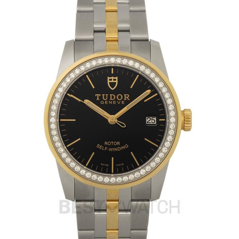 [NEW] Tudor Glamour Date Swiss Yellow Gold Automatic Black Dial Diamonds Unisex Watch 55023-0021