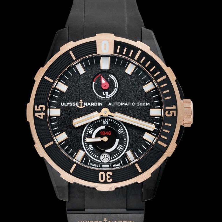 [NEW] Ulysse Nardin Diver Chronometer Titanium and 18ct Rose Gold Automatic Black Dial Men's Watch 1185-170-3/BLACK