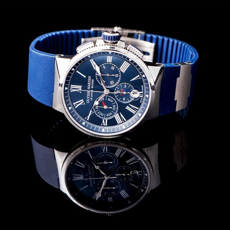 [NEW] Ulysse Nardin Marine Chronograph Stainless Steel Automatic Blue Dial Men's Watch 1533-150/43